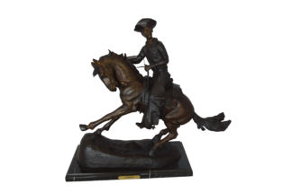 "Remington Cowboy on marble Bronze Statue -  Size: 24""L x 9""W x 23""H."