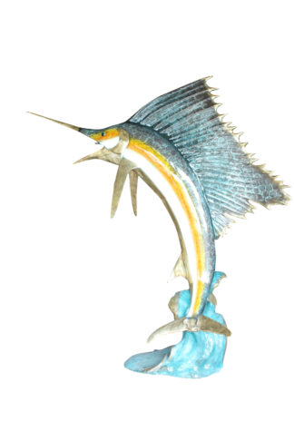 "Sailfish - large with 4 Mahi Mahi Bronze Statue - fountain -  90""L x 34""W x 90""H"