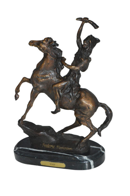 """Scalp By Remington Bronze Statue -  Size: 3""""L x 7""""W x 10""""H."""