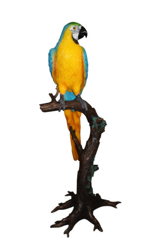"Single Parrot on a tree - Bronze Statue -  Size: 30""L x 24""W x 66""H."