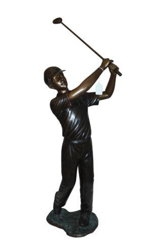 "Teen boy plays golf Bronze Statue -  Size: 18""L x 13""W x 57""H."