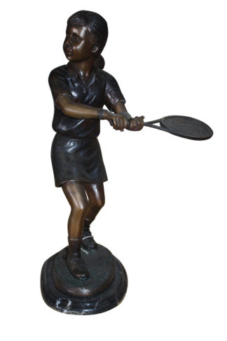 "Girl Playing Tennis - Bronze Statue -  Size: 10""L x 11""W x 21""H."