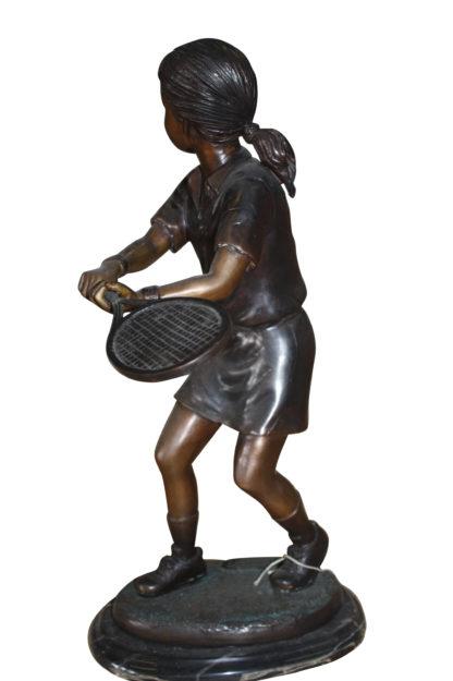 "Girl Playing Tennis - Bronze Statue -  Size: 10""L x 11""W x 21""H."