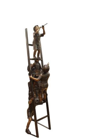 """Three Children Playing on Ladder Bronze Statue -  Size: 24""""L x 27""""W x 96""""H."""