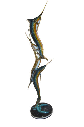 "Three Marlin Fish /bronze Fountain on Triple Marble -  15""x 18""x 77""H."