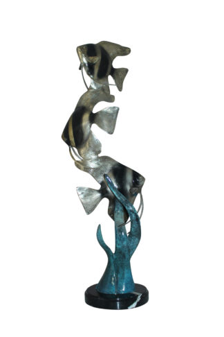 "Three Zebra Angelfish Bronze Statue -  Size: 10""L x 10""W x 33""H."