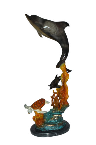 "Two Dolphins with Turtle bronze statue -  Size: 14""L x 8""W x 28""H."