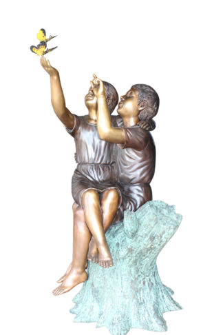 "Two Kids Playing with Butterflies Bronze Statue -  Size: 30""L x 30""W x 50""H."