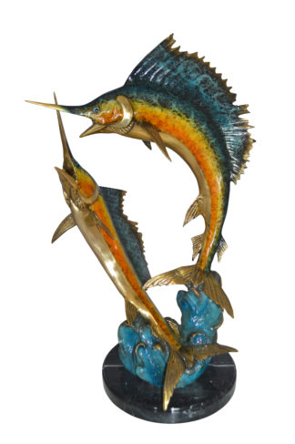 "Two Sailfish Fish Bronze Statue Bronze Statue -  Size: 20""L x 16""W x 34""H."