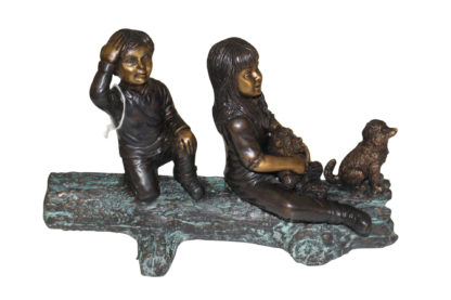 """Two kids with dog on log Bronze Statue -  Size: 12""""L x 5""""W x 8.5""""H."""
