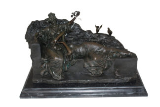 "Two ladies Bronze Statue -  Size: 14.5""L x 7""W x 9""H."
