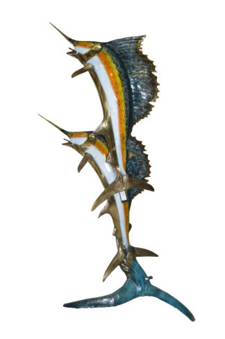 "Two - large Sailfish fish Bronze Statue -  Size: 30""L x 43""W x 79""H."