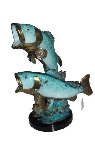 "Two largemouth bass fish Bronze Statue -  Size: 17""L x 10""W x 24""H."
