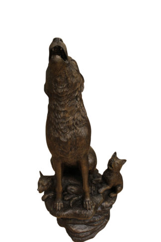 "Wolf and Cubs Bronze Statue -  Size: 24""L x 17""W x 48""H."