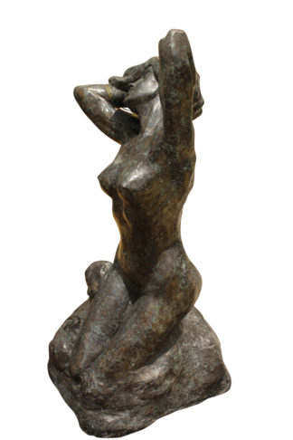 """Woman Posing Naked Rodin Bronze Statue replica -  Size: 14""""L x 13""""W x 27""""H."""