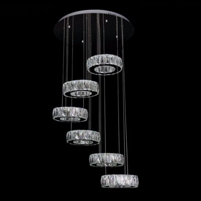 LED Chandelier W/6 rings crystal lighting - Diameter 150 MM or approx 5.9 Inches