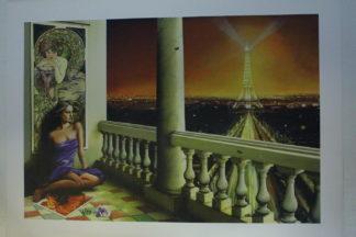 """Orlando Quevedo Giclée Lady in Paris Painting -  Size: 21""""L x 13.5""""W"""