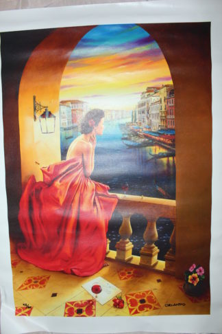 "Orlando Quevedo Giclée - Lady in Venice Painting -  21""L x 13.5""W"