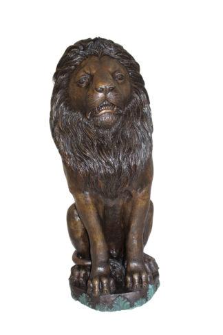 "Lion Sitting on Base Bronze Statue -  Size: 13""L x 13""W x 34""H."