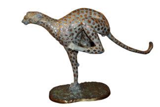 "Running Cheetah - Gold Pleated Bronze Statue -  Size: 67""L x 23""W x 41""H."